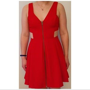 BCBGeneration Red Cut Out Skater Dress